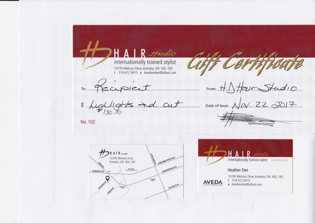 Hair style Gift Certificate
